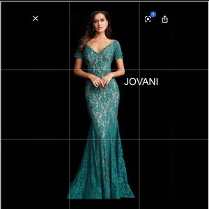 Jovani emerald green long gown